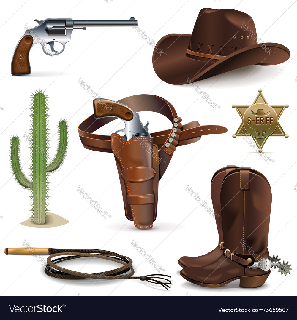 Cowboy icons vector