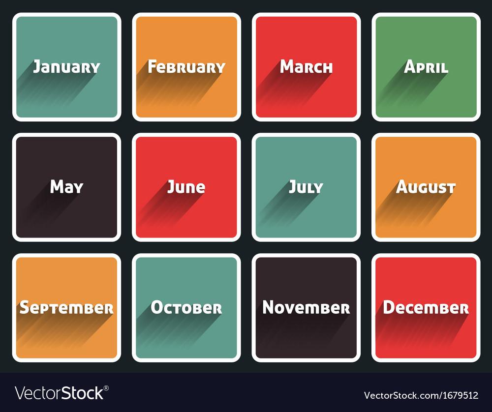 Month flat design vector
