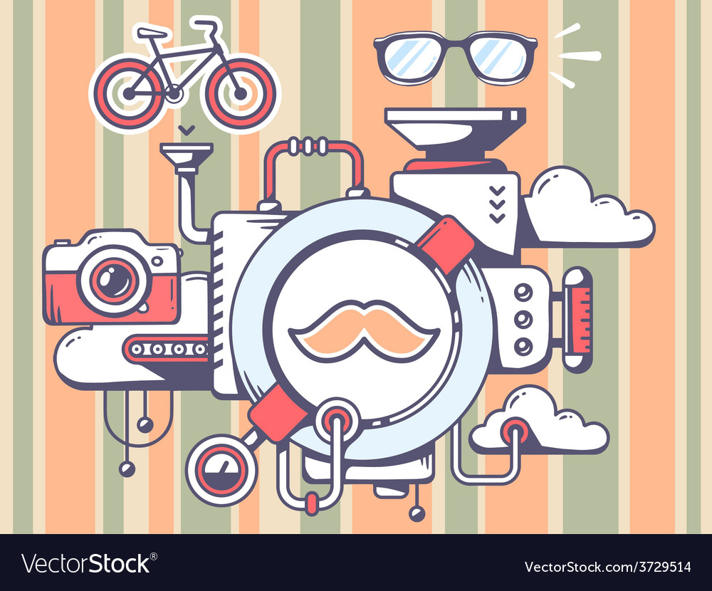 Mechanism with moustache and relevant ico vector