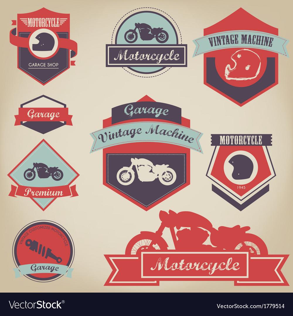 Motorcycle shop label design 2 vector