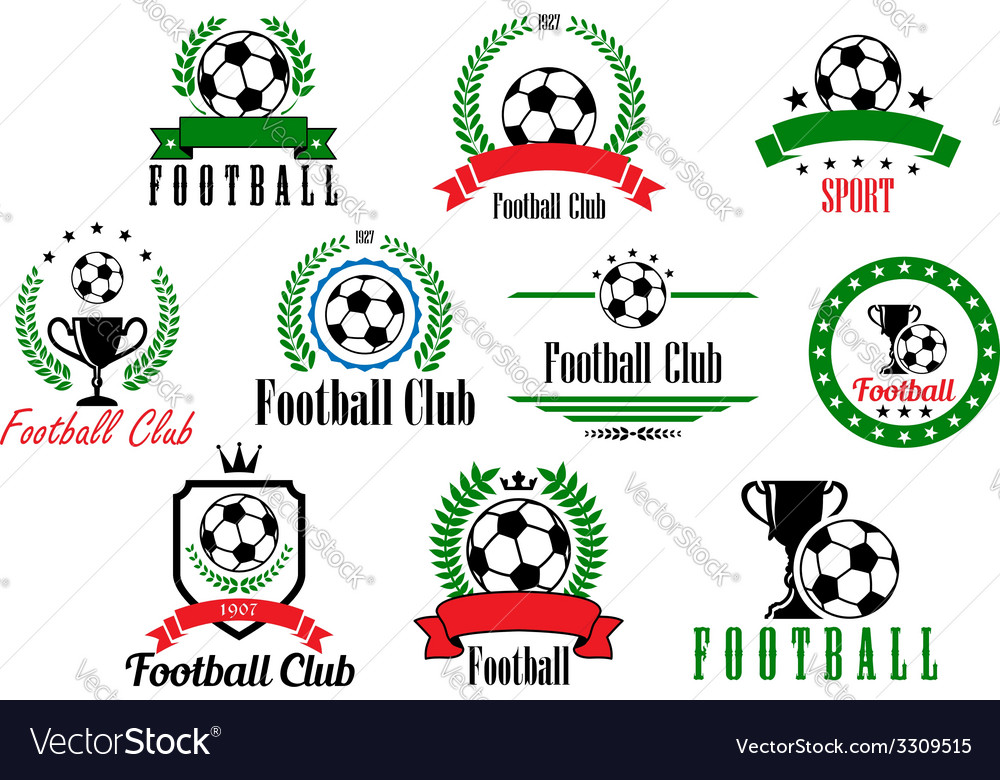 Set of football club badges and emblems vector