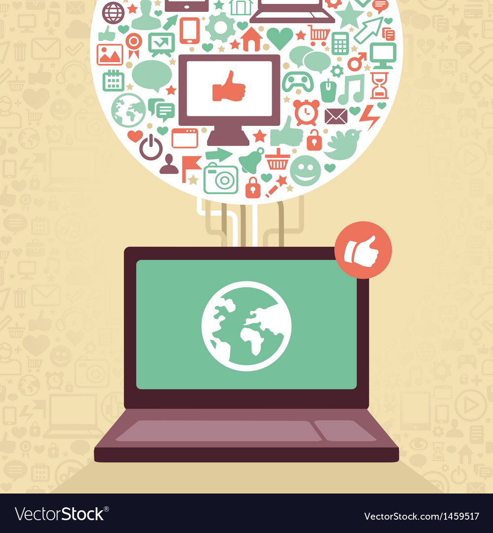Laptop with social media icons vector
