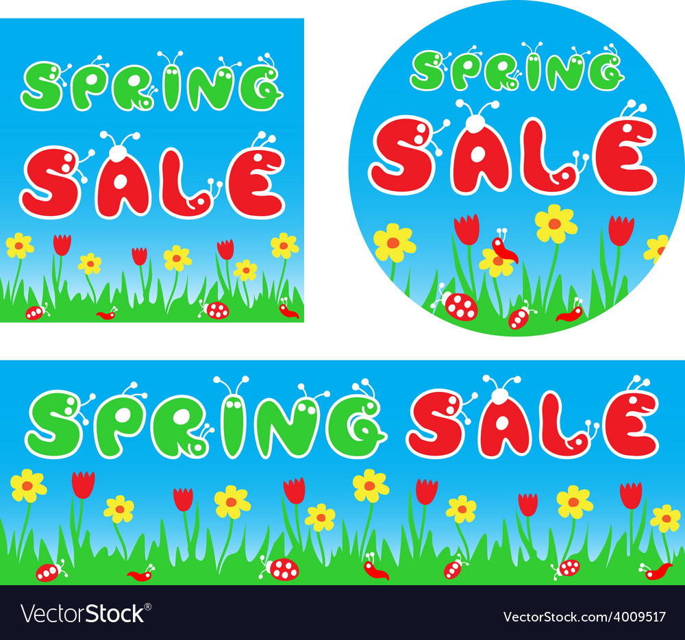 Spring sale stylized colorful banners vector