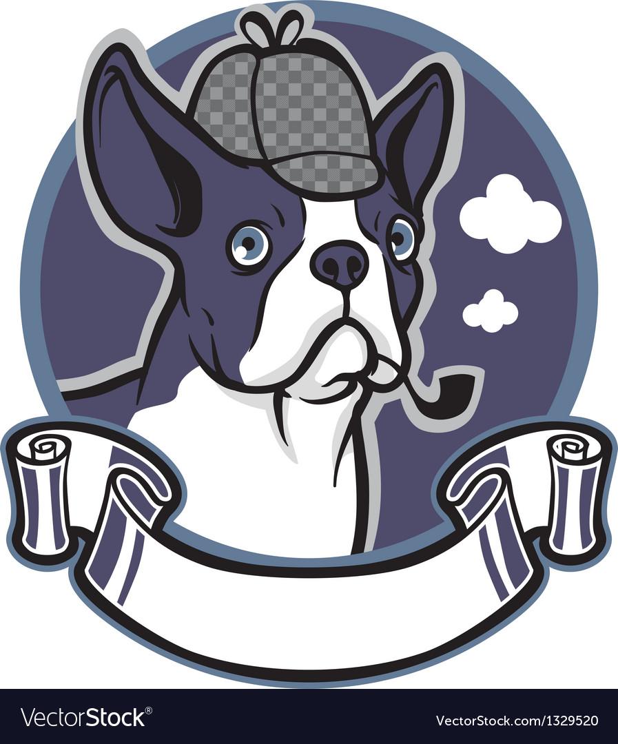 Boston terrier dog wear a detective hat vector
