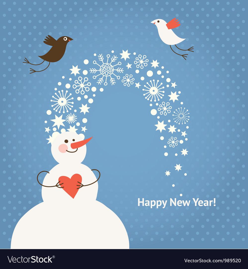 Christmas card funny snowman and birds vector
