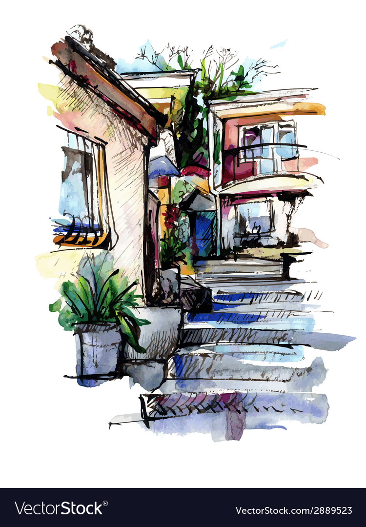 Watercolor painting on paper of old street in vector