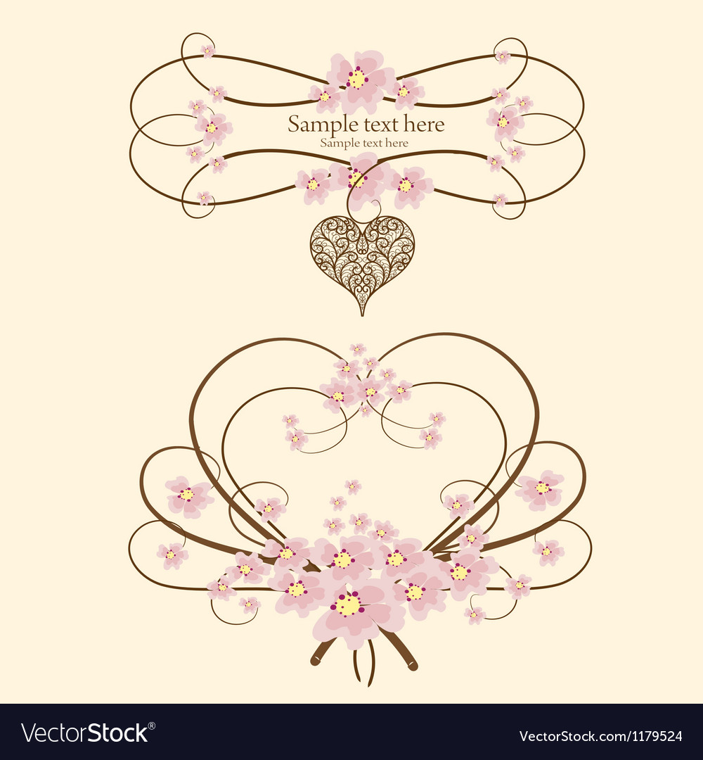 Ornamental frame heart with place for your text vector