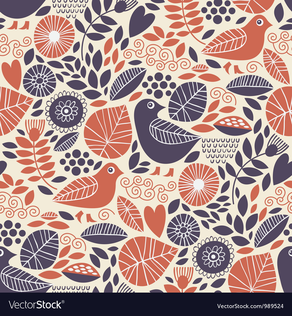 Seamless pattern with birds and floral elements vector