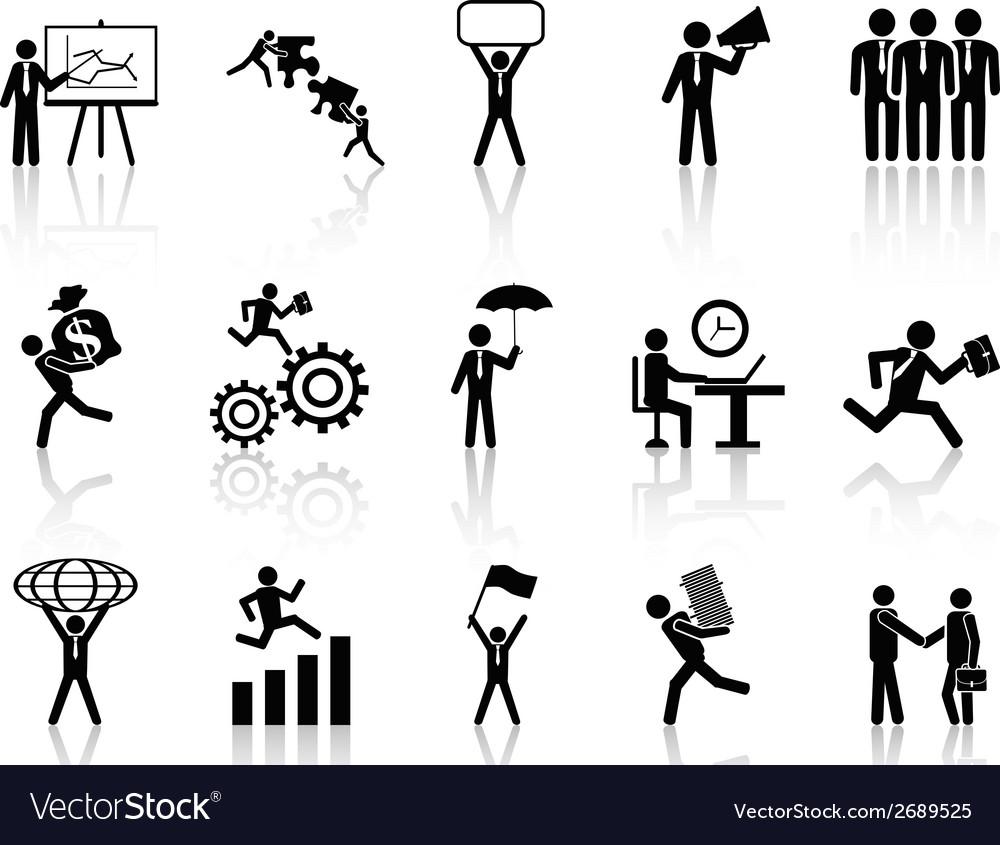 Black working businessman icons set vector