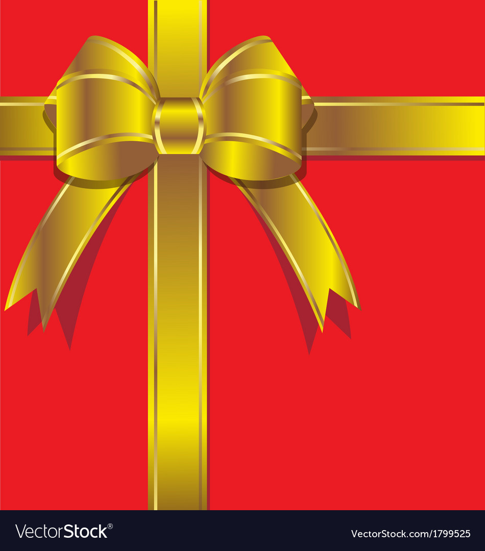 Luxurious gift with gold ribbon vector