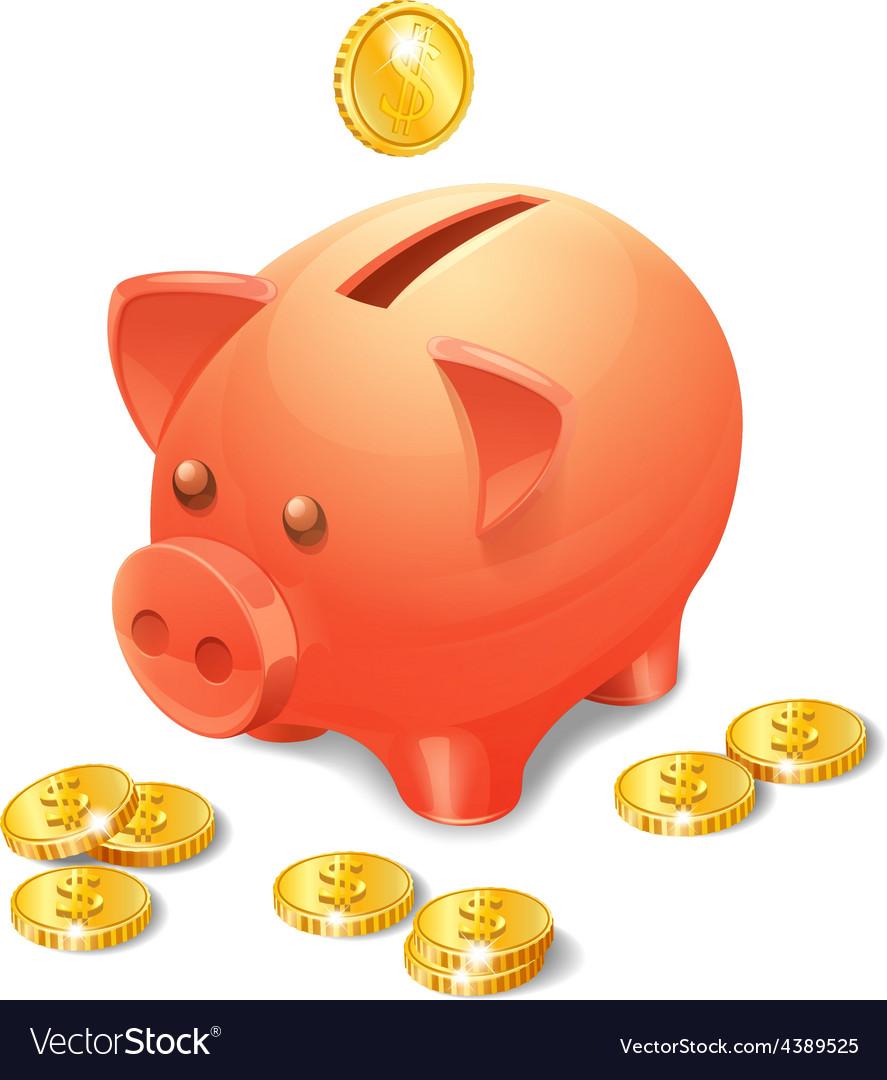 Piggy bank realistic vector