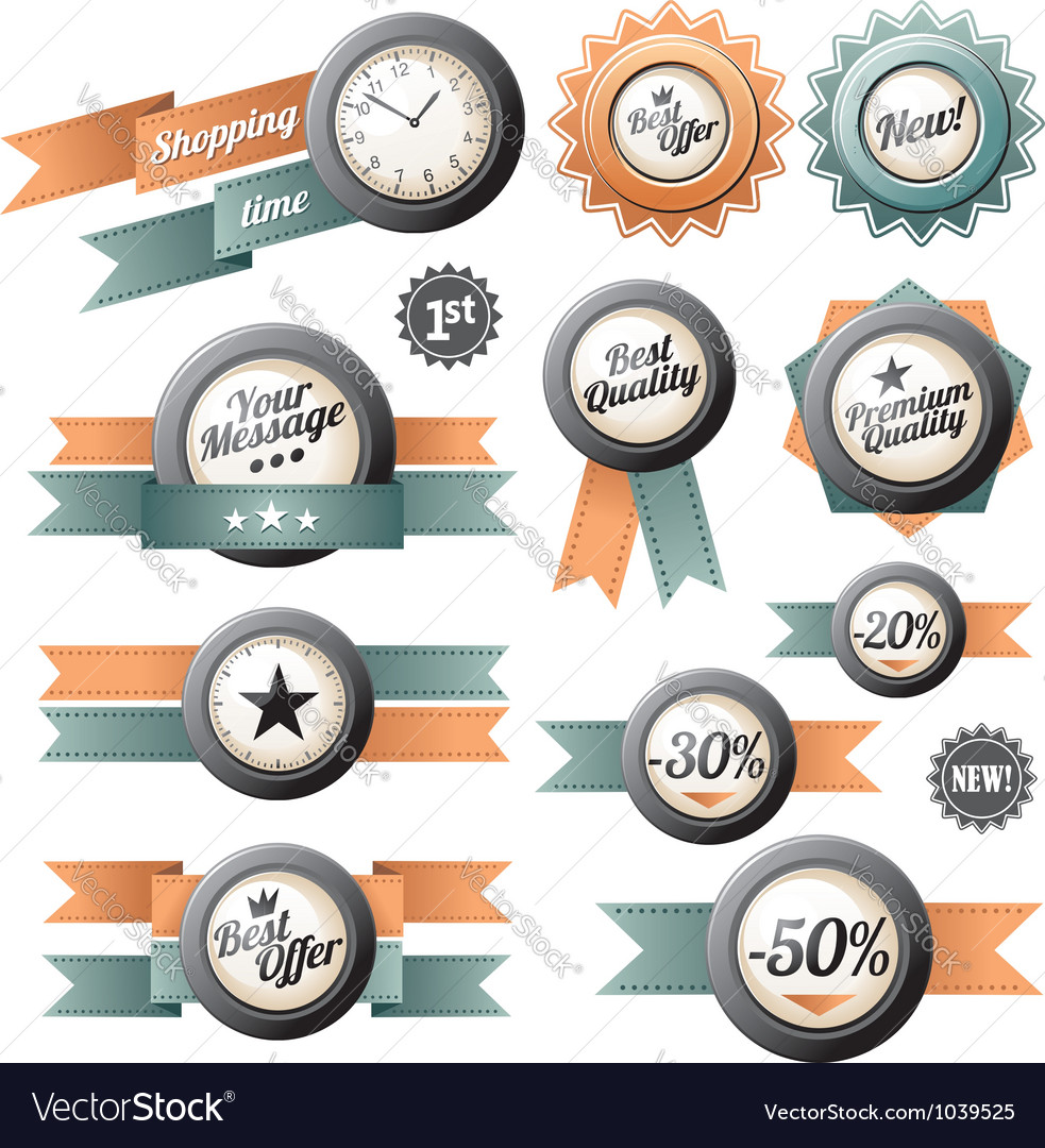 Retro labels and ribbons vector