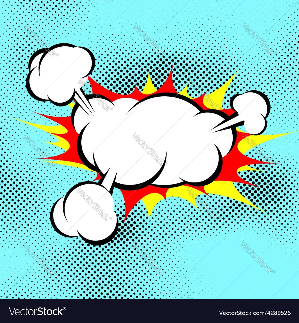 Pop art explosion boom cloud comic book background vector