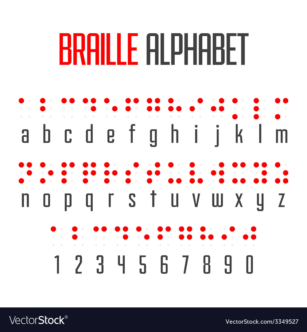 Braille alphabet and numbers vector