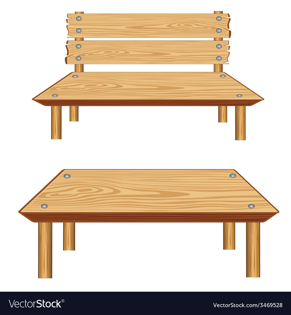 Table and bench from tree vector