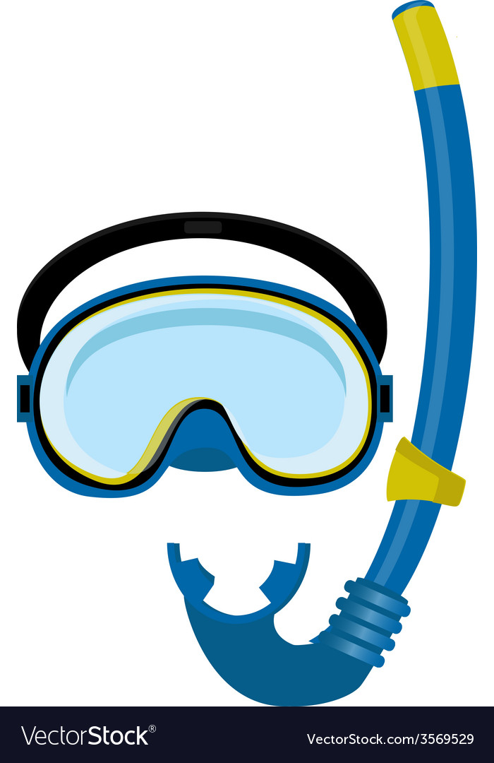 Blue diving mask and tube vector