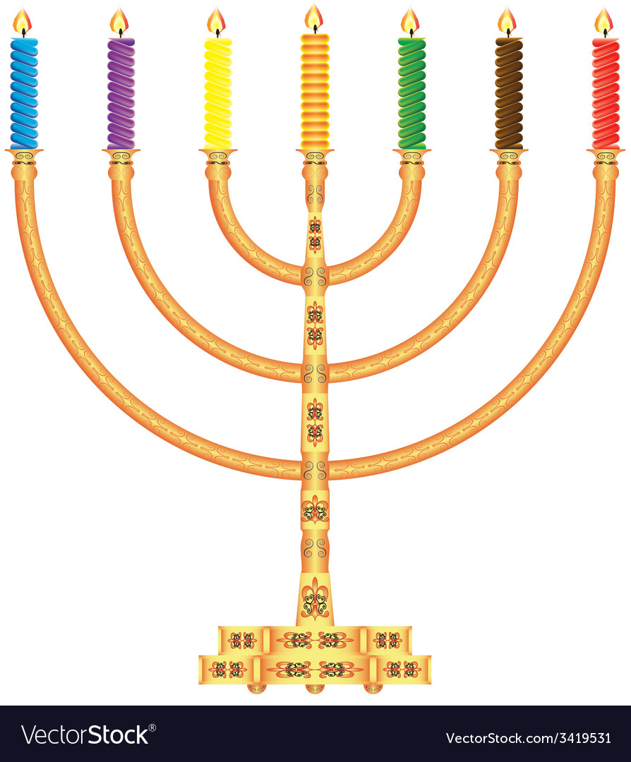Golden menorah vector