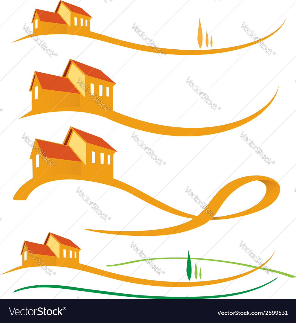Landscape house set vector