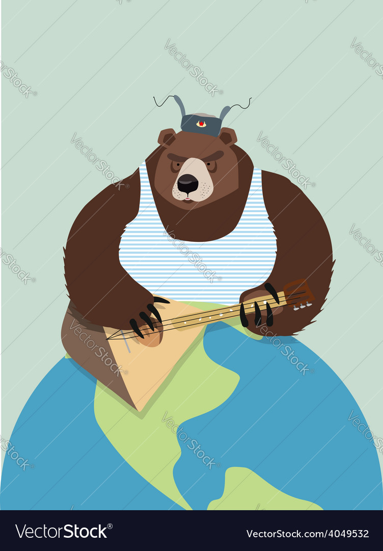 Bear from russia in ear flaps playing the vector