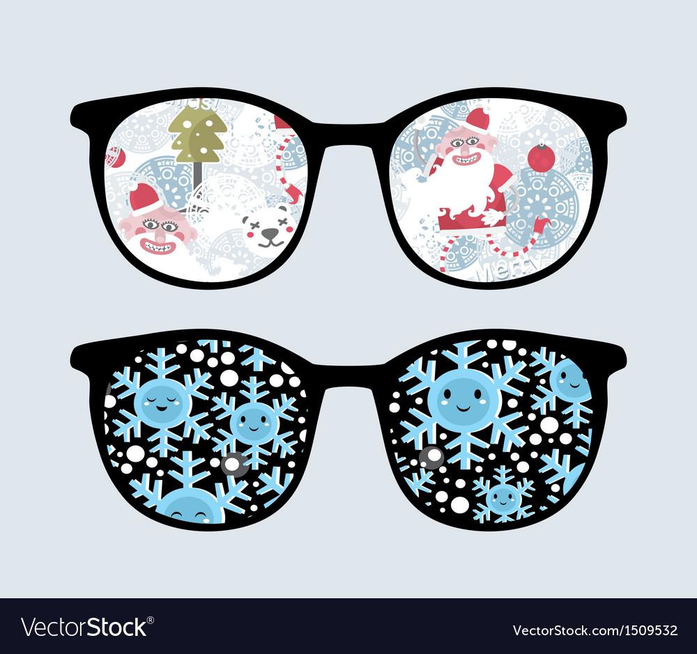 Retro sunglasses with winter reflection in it vector