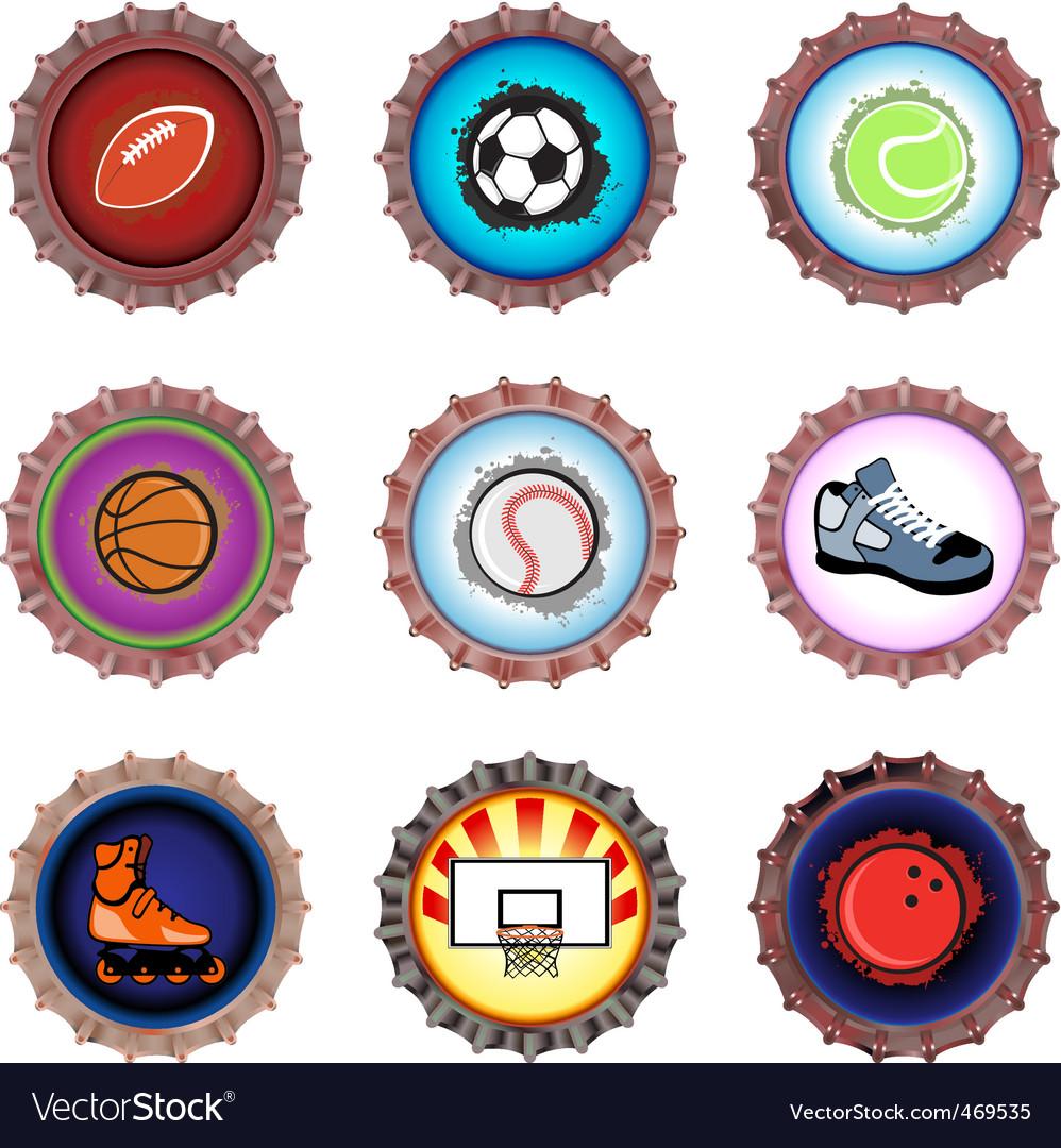Bottle caps set sport vector