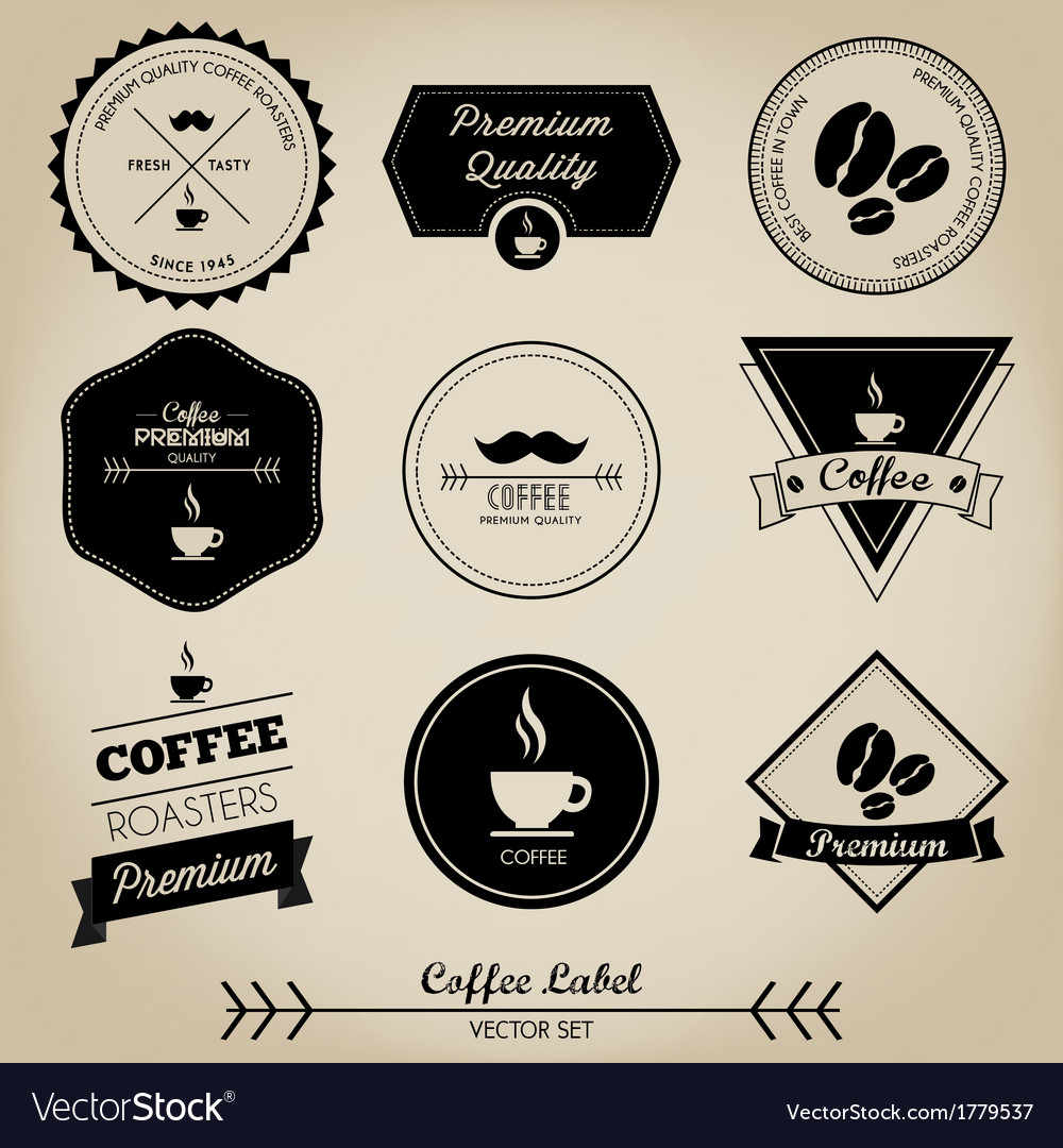 Premium coffee label vector