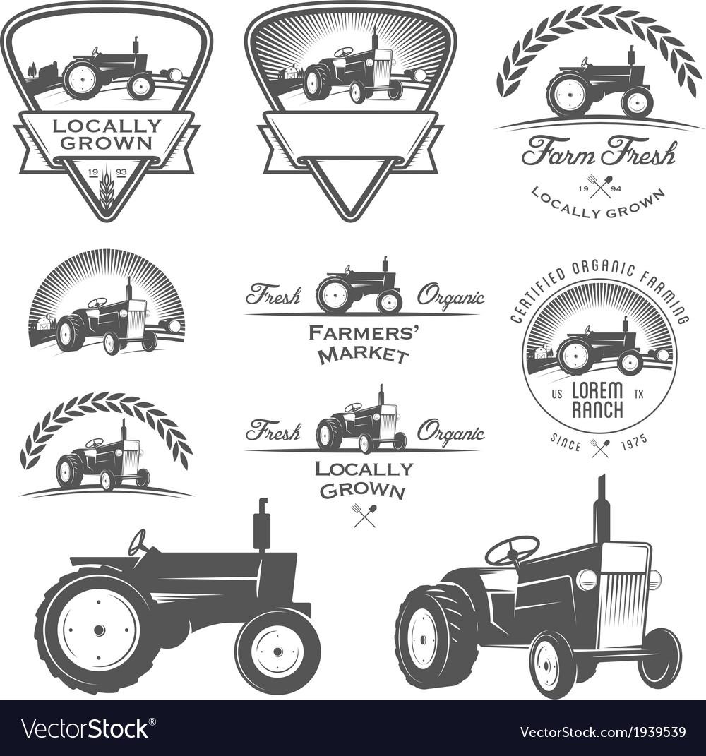 Set of retro farm fresh labels and design elements vector