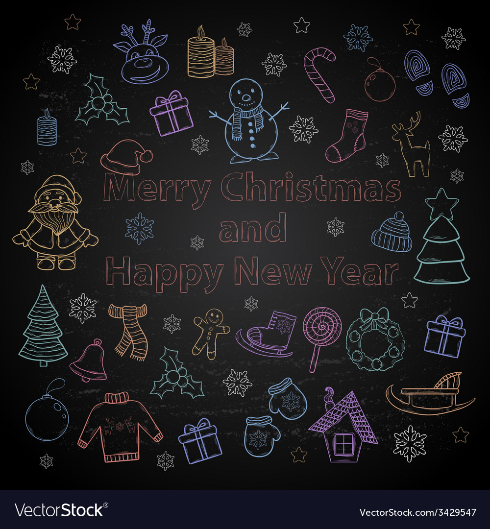 Happy new year and merry christmas color set on a vector
