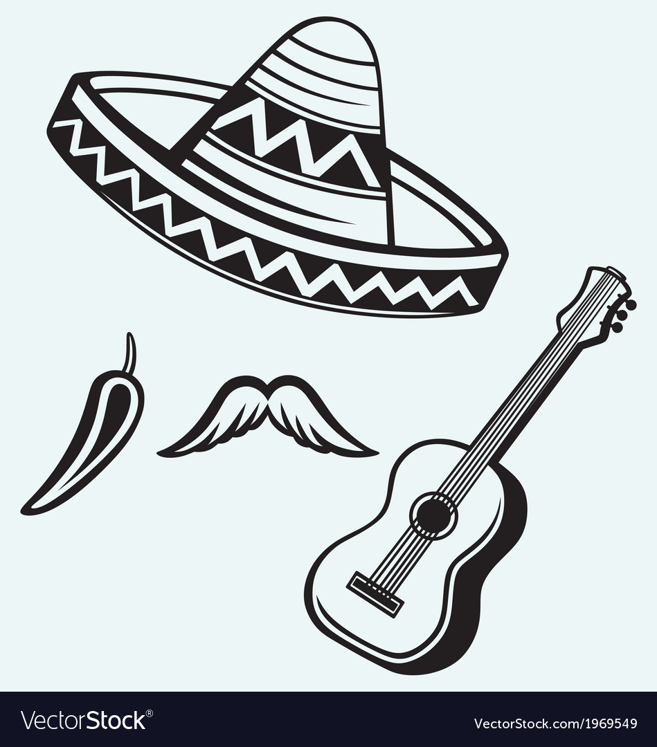 Mexican symbols vector