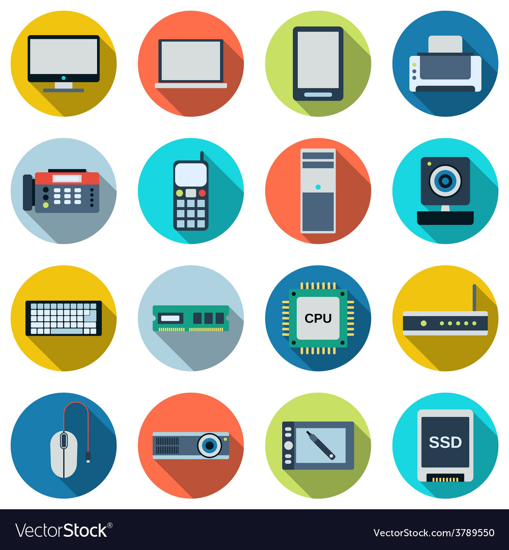 Modern electronic icons vector