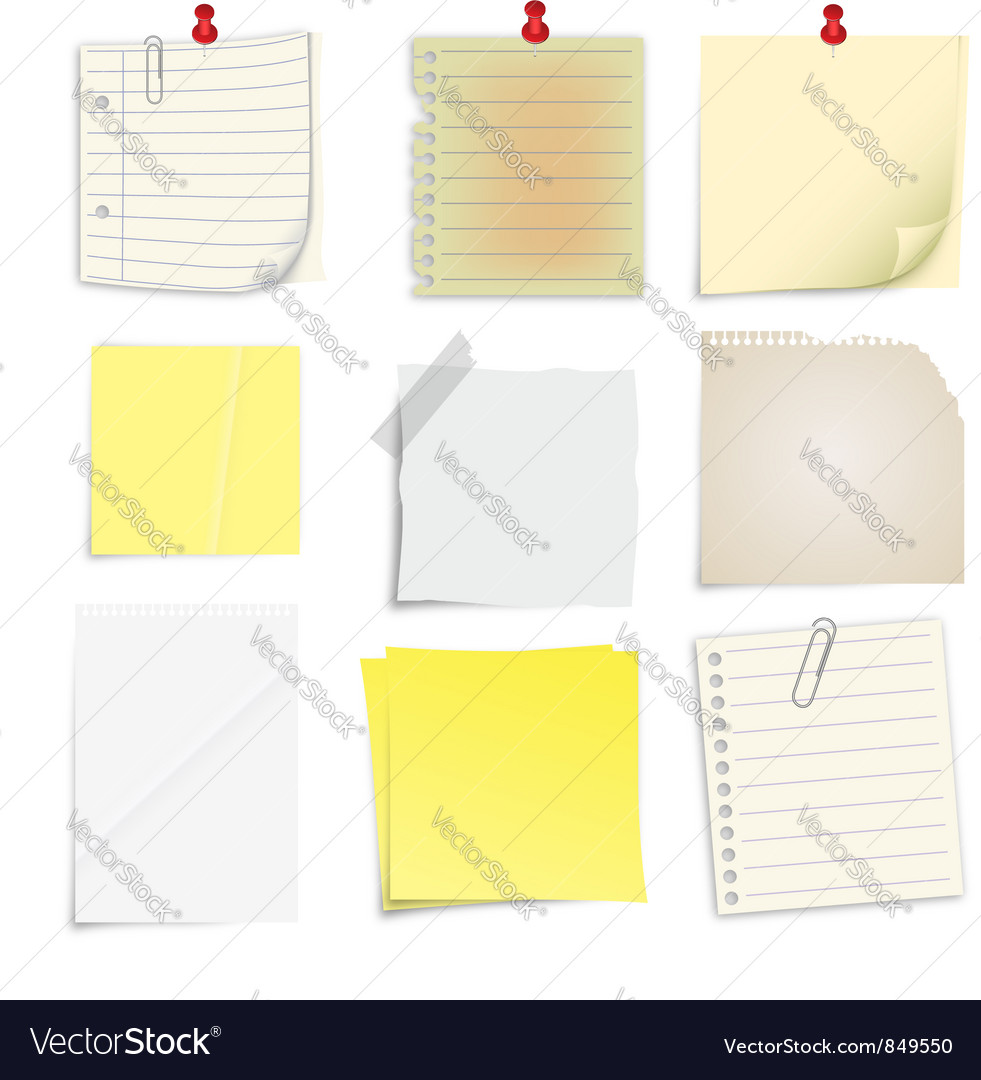 Set of post it notes vector