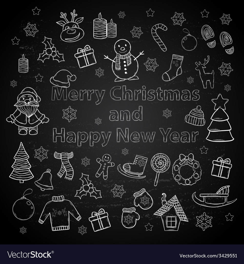Happy new year and merry christmas set on a chalk vector