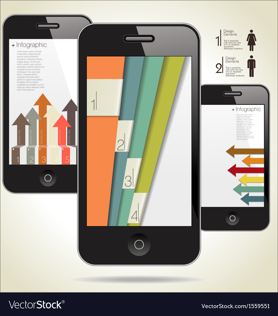 Modern infographic with a smartphone vector
