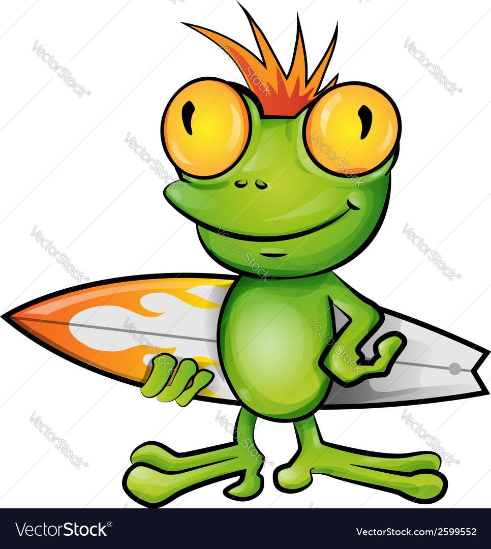 Frog cartoon surfer vector