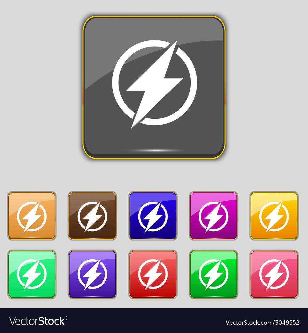 Photo flash sign icon lightning symbol set of vector