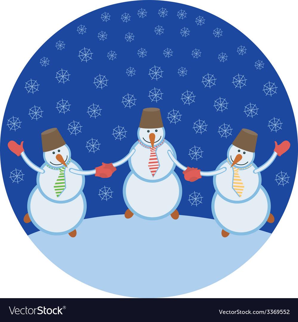Three cheerful snowmen vector