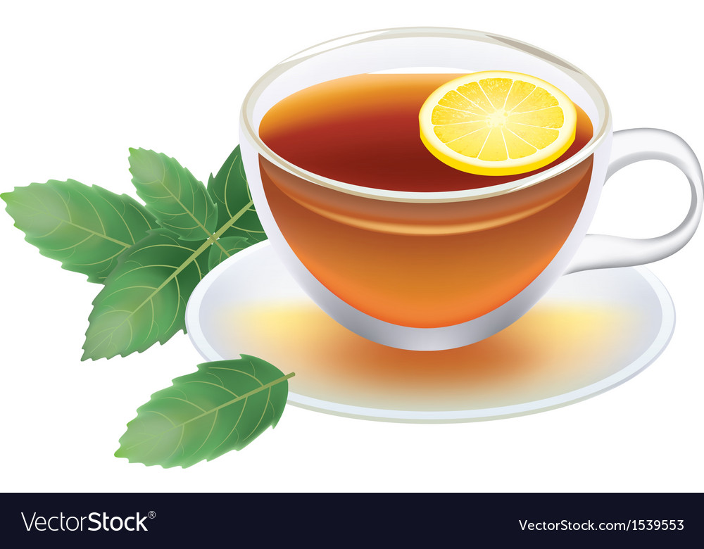 Transparent cup of black tea with lemon and mint vector