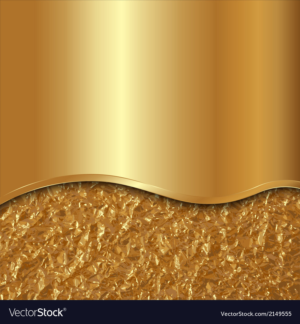 Abstract gold background with curve and foil vector