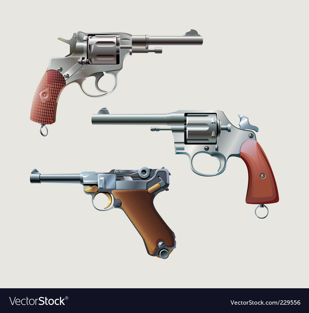 Revolvers and automatic pistol vector
