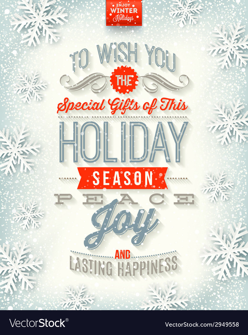 Christmas holidays type design vector