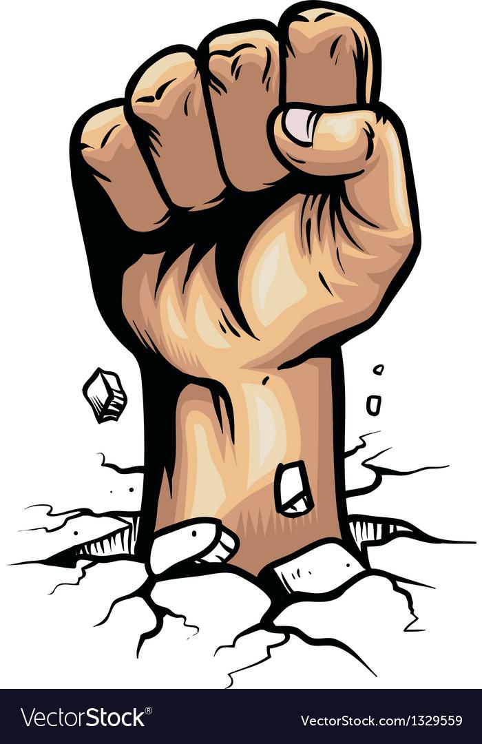 Fist hand smashing the ground vector