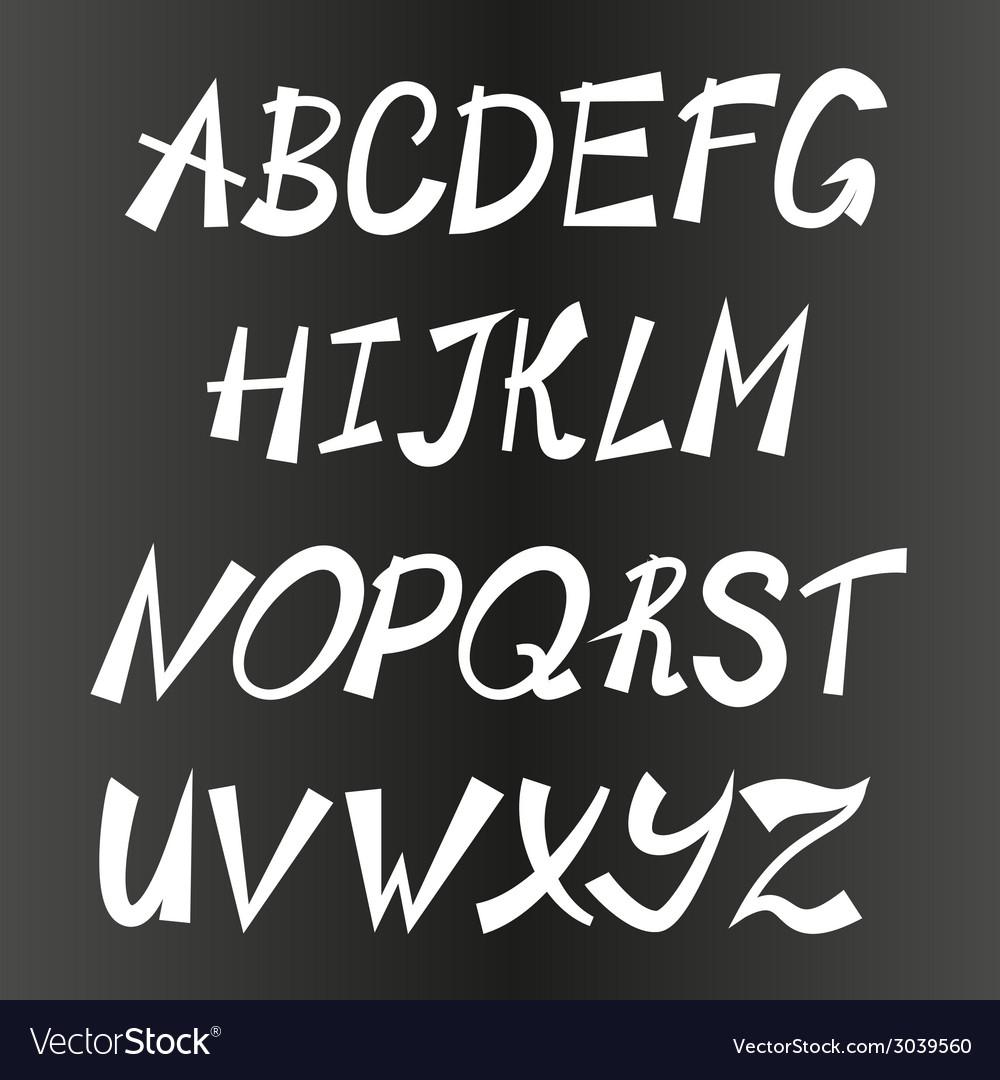 Handwriting stylish alphabet hand drawn vector