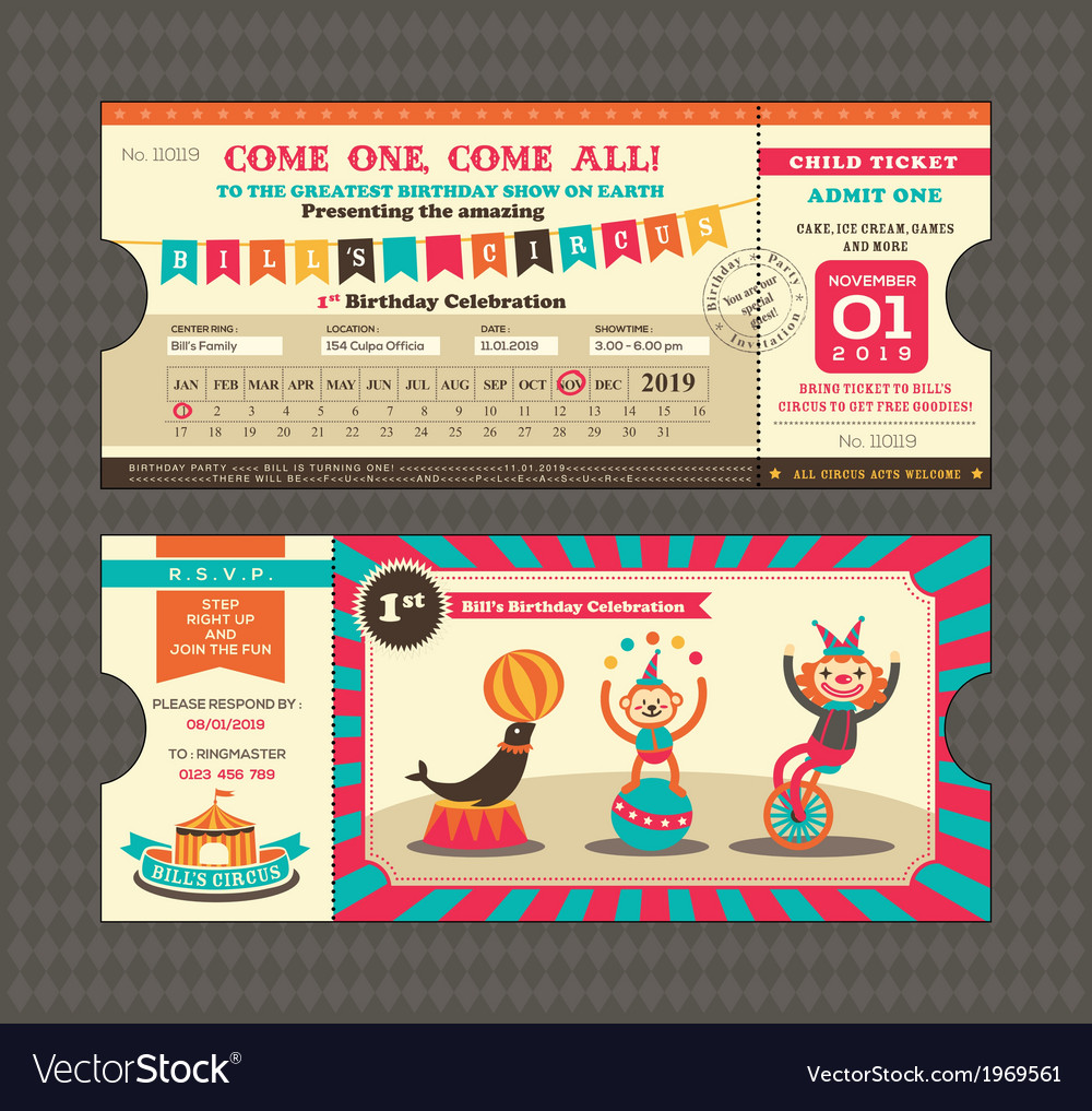 Birthday card ticket style vector