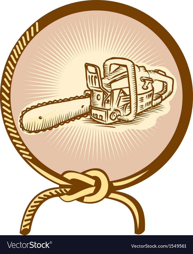 Chainsaw lasso rope retro vector