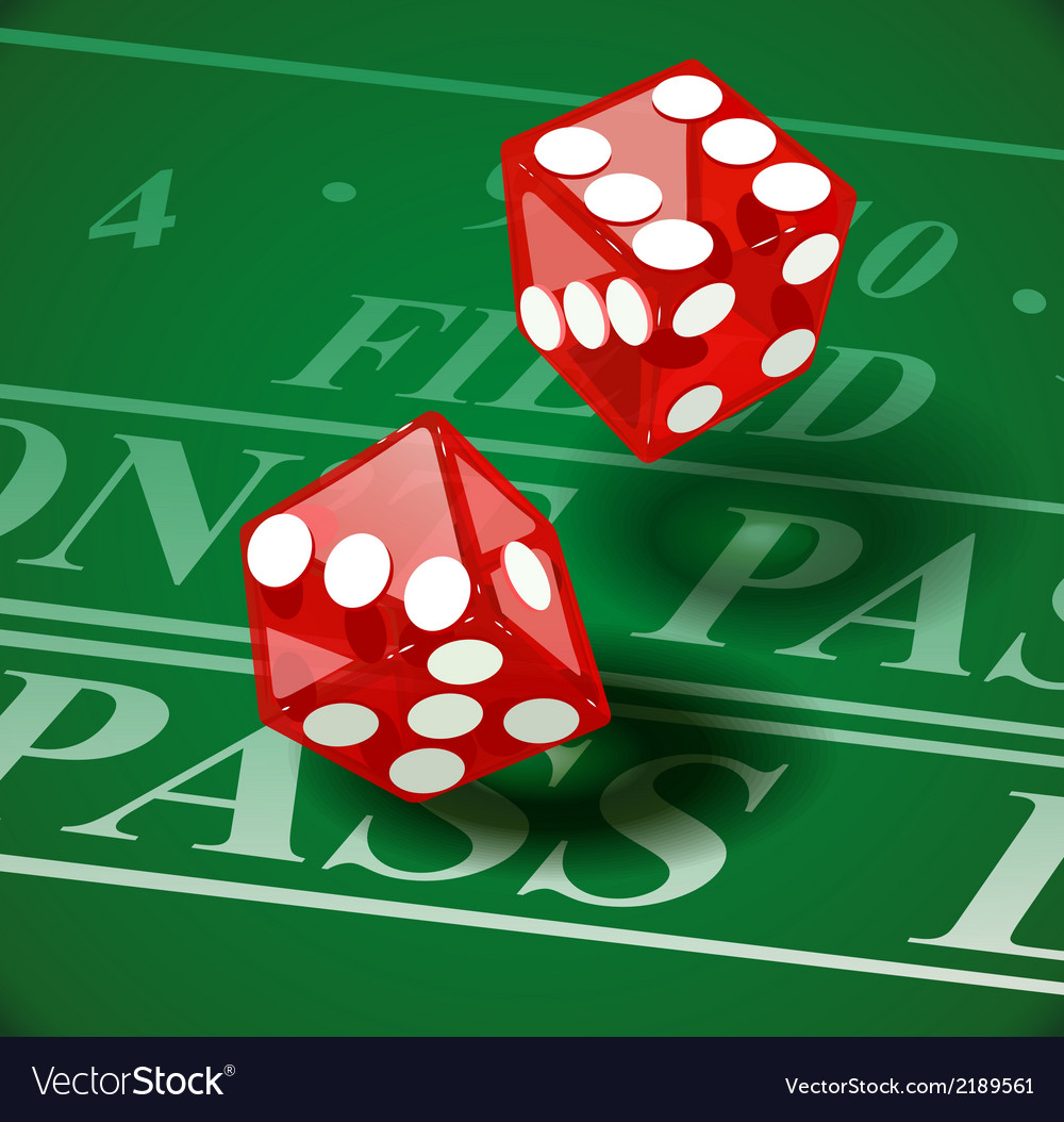 Playing dice on casino table vector