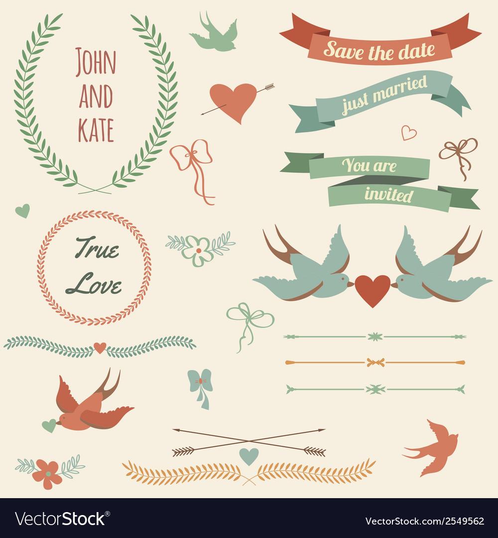 Wedding set with birds hearts arrows ribbons vector