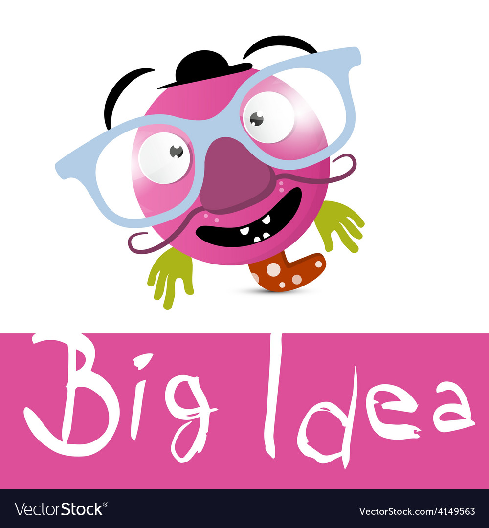 Big idea with funky avatar with glasses vector