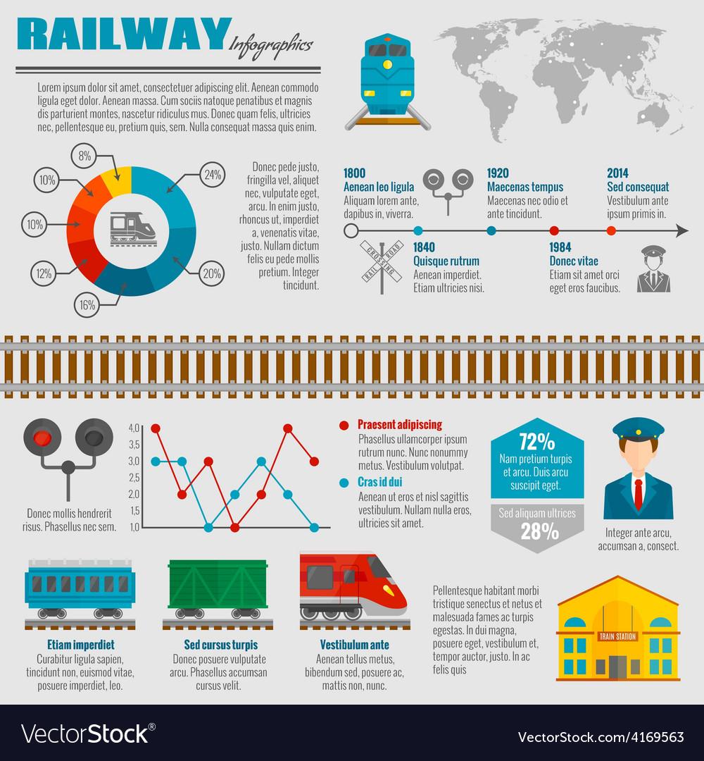 Railway infographic set vector