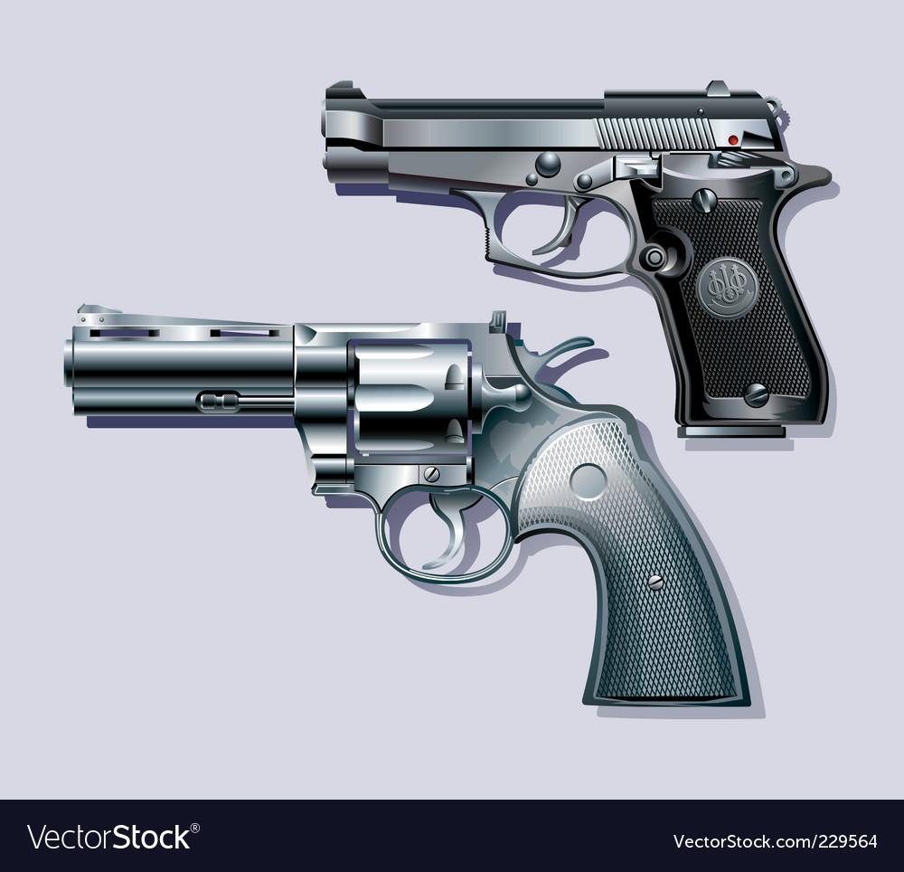 Machine pistol and revolver vector