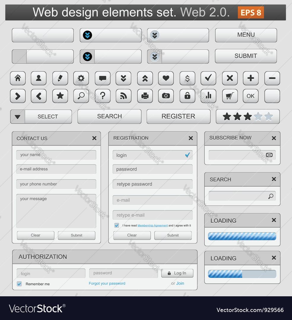 Web design elements set white vector